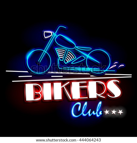 easy to edit vector illustration of Neon Light signboard for Bikers Club - stock vector
