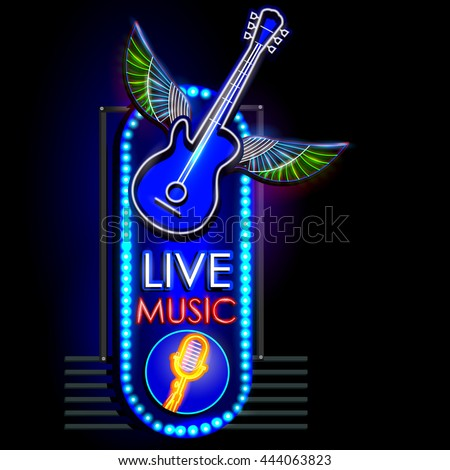 easy to edit vector illustration of Neon Light signboard for Live Music - stock vector