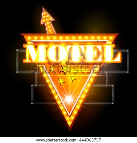 easy to edit vector illustration of Neon Light signboard for Motel - stock vector