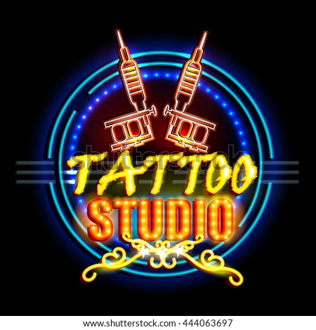 easy to edit vector illustration of Neon Light signboard for Tattoo Studio - stock vector