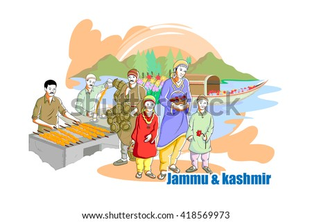 easy to edit vector illustration of people and culture of Jammu & Kashmir, India - stock vector