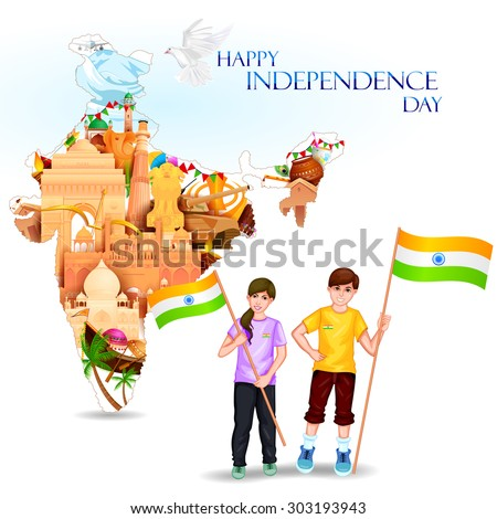 easy to edit vector illustration of people with Indian flag celebrating freedom of India - stock vector