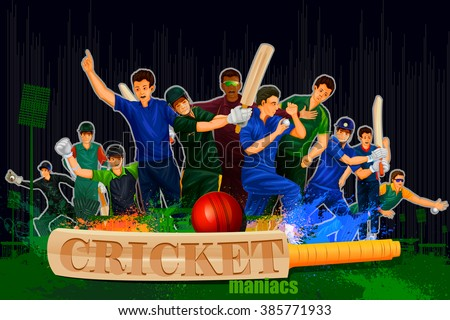 easy to edit vector illustration of player in abstract Cricket Championship background - stock vector