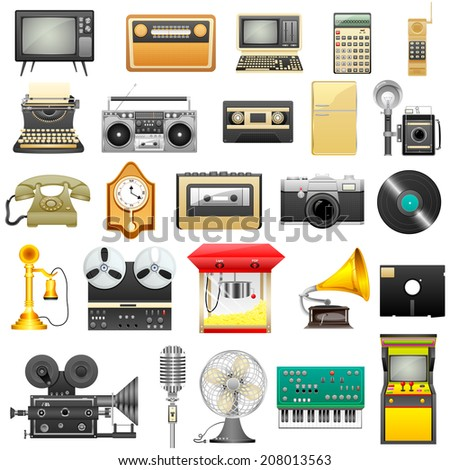 easy to edit vector illustration of retro electronics - stock vector