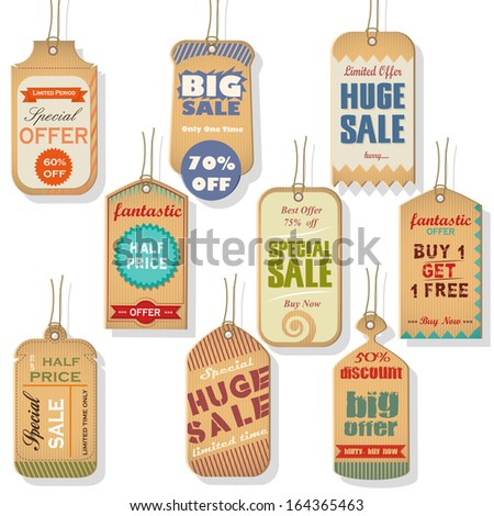easy to edit vector illustration of sale and discount tag for promotion - stock vector
