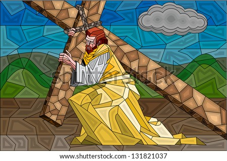 easy to edit vector illustration of stained glass painting of Jesus Christ - stock vector