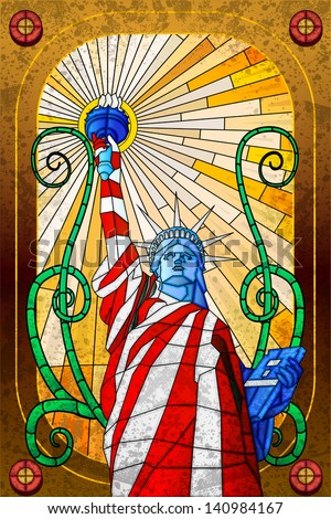 easy to edit vector illustration of Statue of Liberty in stained glass painting - stock vector