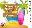 easy to edit vector illustration of summer surfing camp poster - stock vector
