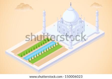 easy to edit vector illustration of Taj Mahal isometric view - stock vector