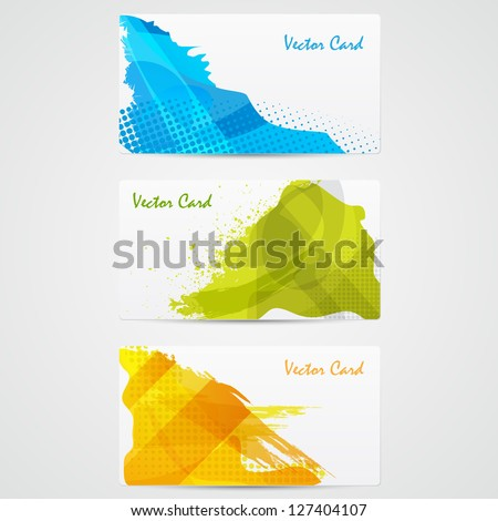easy to edit vector illustration of template of colorful grungy card - stock vector