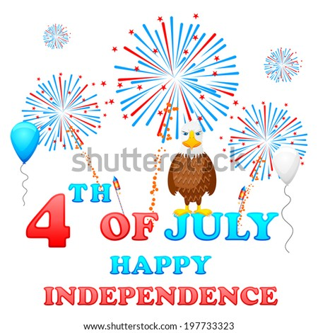easy to edit vector illustration of 4th of July background - stock vector