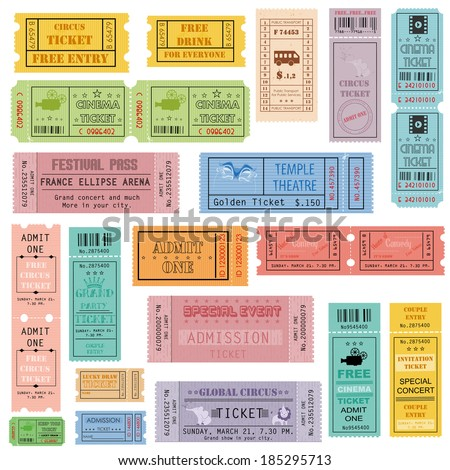 easy to edit vector illustration of ticket collection - stock vector