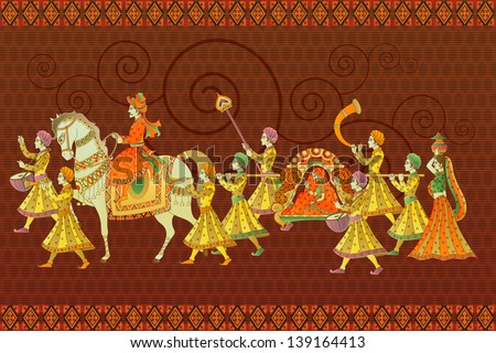 easy to edit vector illustration of traditional Indian wedding barati - stock vector