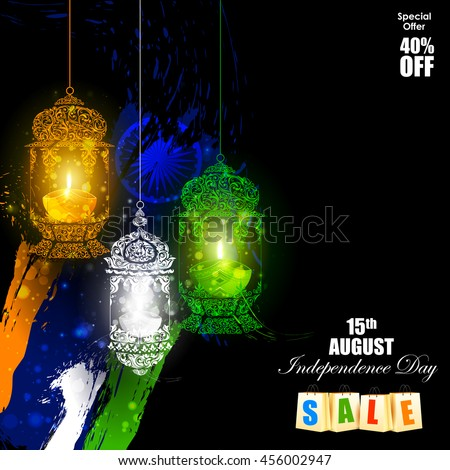 easy to edit vector illustration of Tricolor Diya on Indian Independence Day celebration background - stock vector