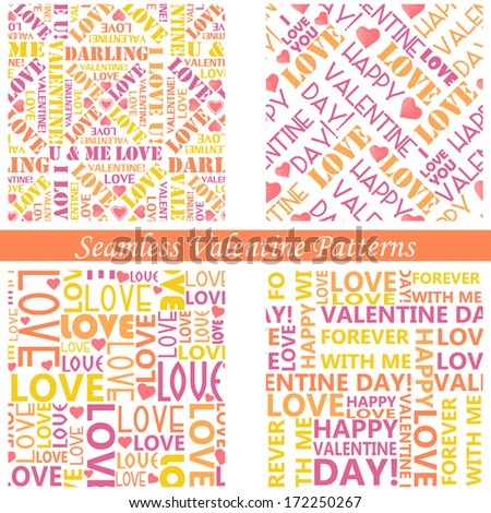 easy to edit vector illustration of typography valentine seamless background - stock vector