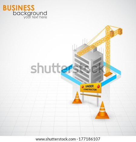 easy to edit vector illustration of under constructed building - stock vector