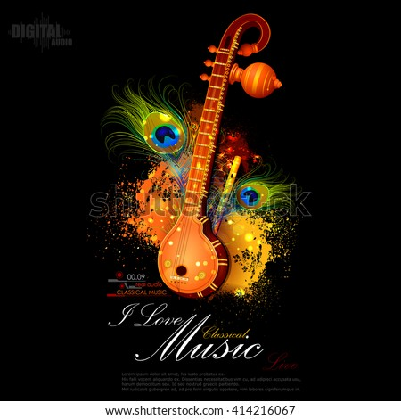 easy to edit vector illustration of veena and flute of Indian classical music - stock vector