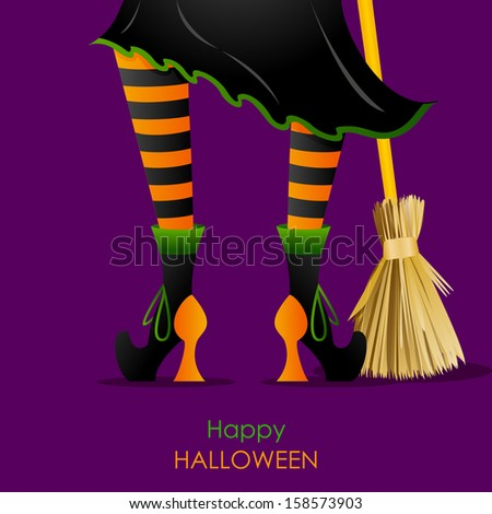 easy to edit vector illustration of witch leg with Broomstick in Halloween background - stock vector