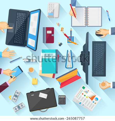 easy to edit vector illustration of working table of office executive - stock vector