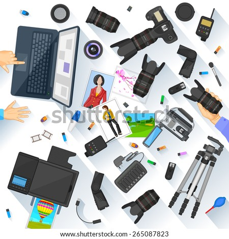 easy to edit vector illustration of working table of photographer - stock vector