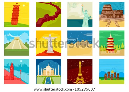 easy to edit vector illustration of world famous monuments - stock vector