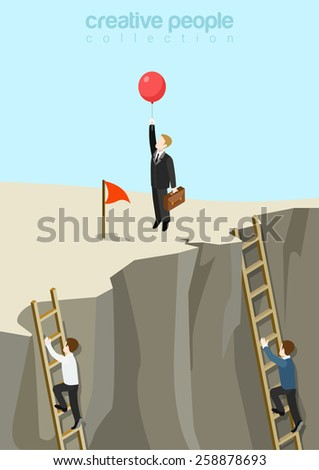 Easy way to success flat 3d web isometric infographic business concept vector template. Businessman fly up away on balloon while others continue climbing on ladders. Creative people collection. - stock vector