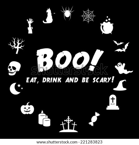 Eat, drink and be scary. Halloween VECTOR illustration made of icons. - stock vector