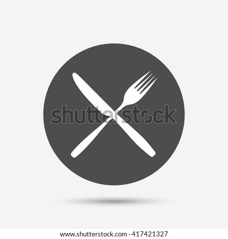 Eat sign icon. Cutlery symbol. Fork and knife crosswise. Gray circle button with icon. Vector - stock vector
