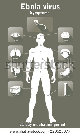 Ebola virus disease. Symptoms. - stock vector