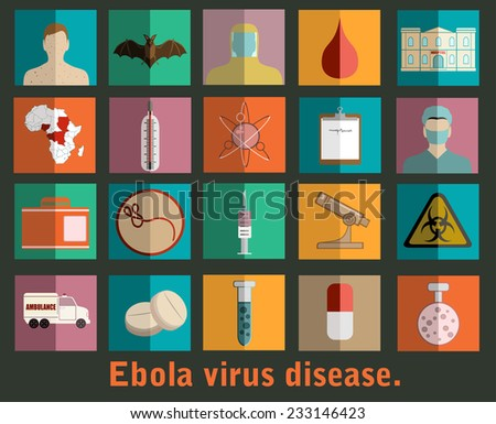 Ebola virus flat style icons. - stock vector
