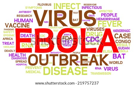 Ebola Virus word cloud. This infographic highlights important themes of the pandemic and deadly virus from origins in Africa to RNA diagnosis and the search for a vaccine or drug cure.  VECTOR. - stock vector