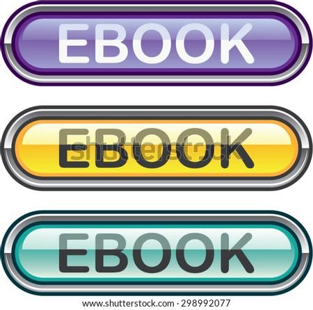 Ebook Button download look Glossy vector  - stock vector