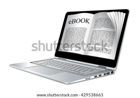 Ebook concept - laptop as electronic book  - stock vector