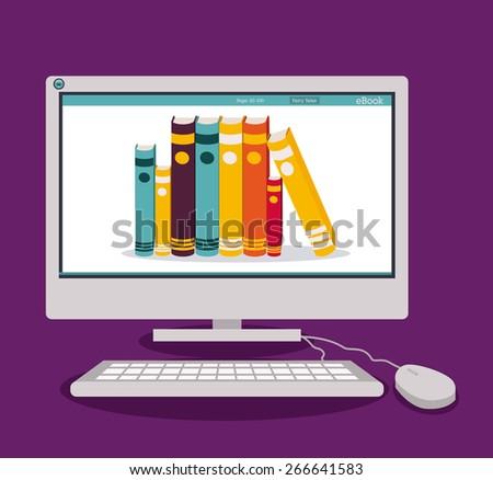 Ebook design over purple background, vector illustration - stock vector