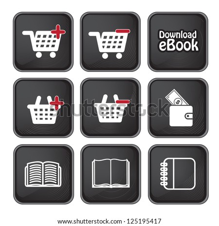 Ebook download button and buy icons over black background vector illustration - stock vector