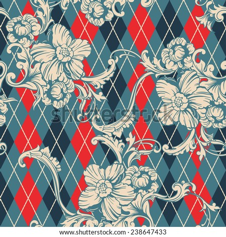 Eclectic fabric seamless pattern. Argyle background with baroque ornament  - stock vector
