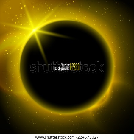 Eclipse illustration, planet in space in yellow rays of light  vector background - stock vector