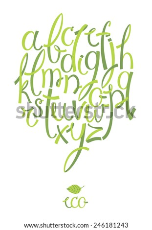 Eco alphabet - stock vector
