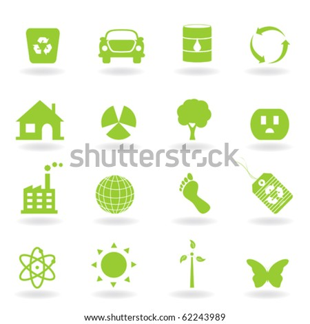 Eco and environment icon set - stock vector