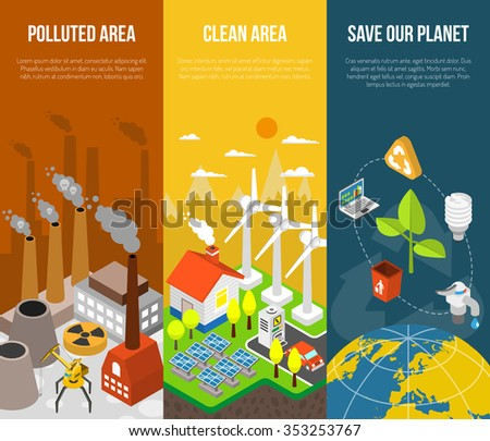 Eco banner with polluted area clean area save our planet vector illustration - stock vector