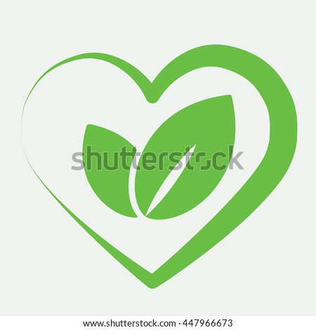 eco bio leaves in heart love green icon on white background - stock vector