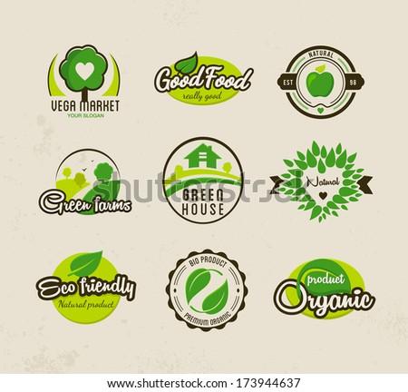 Eco bio natural labels - stock vector