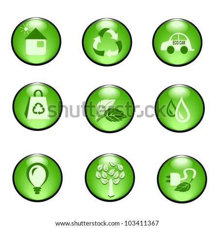 Eco buttons - icons - stock vector