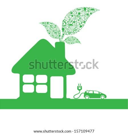 Eco car make a home icon vector illustration - stock vector