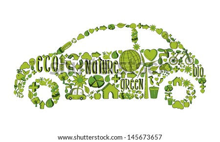 Eco car with environmental hand drawn icons in green. This illustration is layered for easy manipulation and custom coloring - stock vector