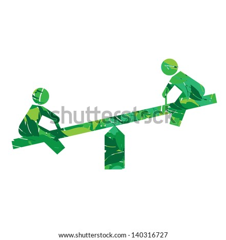eco children playground sign in leaves vector illustration - stock vector