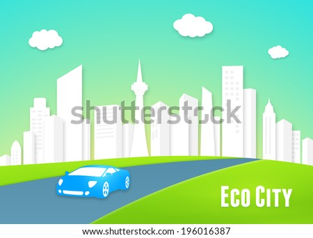 Eco city concept with a clean white urban cityscape of modern high-rise buildings and an eco-friendly efficient electric car driving into the lush green countryside along the highway - stock vector