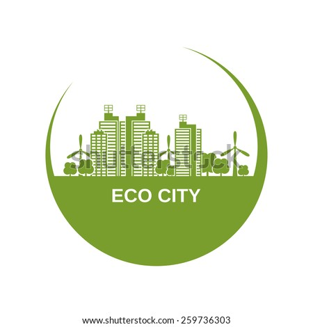 Eco city design with green buildings and windmills in circle shape vector illustration - stock vector