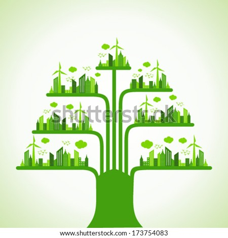 Eco cityscape make a tree stock vector - stock vector
