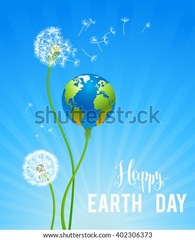 Eco concept card with globe as a flower for design banner,ticket, leaflet and so on.Template page for Earth day. Holiday card. Green globe and dandelions . - stock vector